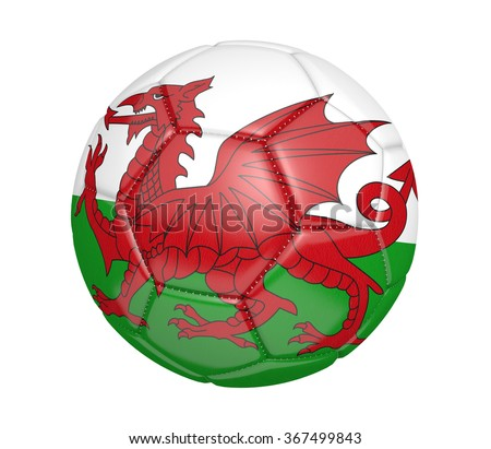 Football, alternatively called a soccer ball, with the national flag colors of Wales