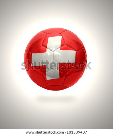 Football ball with the national flag of Switzerland on a gray background