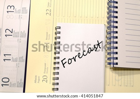 Forecast text concept write on notebook