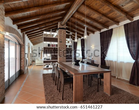 Foreground Of A Dining Table In Modern Living Room The Attic With Terracotta