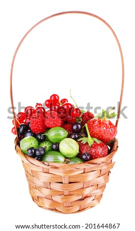 Forest berries in wicker basket, isolated on white
