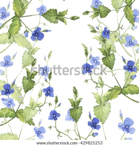 Forget-me-not background. Wild blue flowers drawn by watercolor. Hand drawn illustration.
