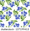 Forget-me-not Flowers Seamless Pattern - stock photo