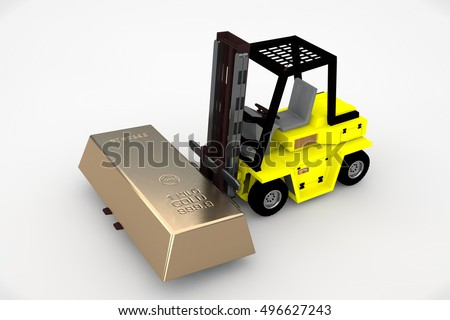 forklift, carrying a large gold ingot, the image on a white background, 3d rendering