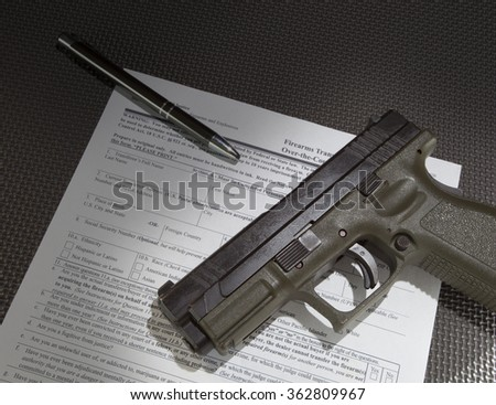 Form to check the background of a gun purchaser and handgun