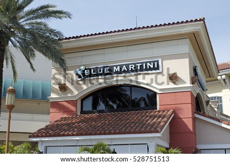 Fort Lauderdale, FL, USA - April 30, 2016: Blue Martini lounge bar sign on the exterior of the Galleria Mall. There are over a dozen Blue Martini bars in the USA.