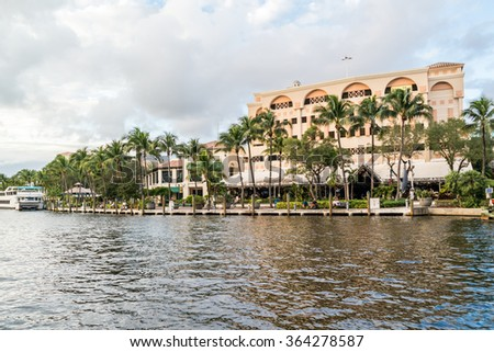 FORT LAUDERDALE, USA - DEC 6, 2015: Riverwalk and bars along New River in downtown Fort Lauderdale, Florida, USA