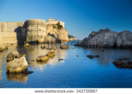 Fortress Bokar taken from a small port of Dubrovnik, Croatia