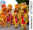 FOSHAN CITY, CHINA - JANUARY 31: Chinese New Year Lion Dance on January 31, 2013 in Foshan, China - stock photo