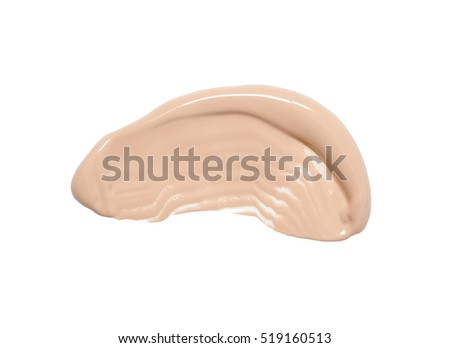 Foundation smudges range of colors isolated on white background. Liquid Foundation.