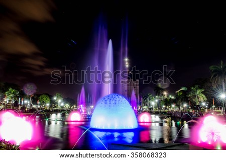 fountain at night time