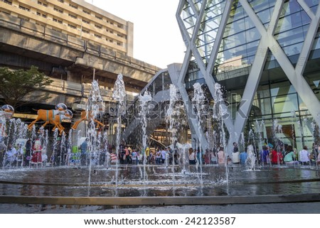 fountain in front of Central world Plaza square in bangkok thailand on 31 December 2014 BANGKOK THAILAND