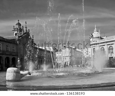 Fountain in the Central square of the old town - Braga, Portugal (black and white)