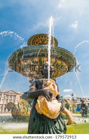 Fountain of River Commerce and Navigation on the Place de la Concorde. Paris, France in summer