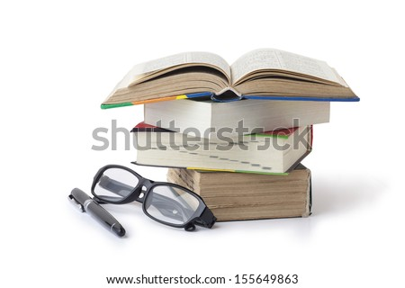 Fountain pen books and glasses