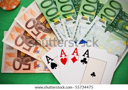 Four Aces and euro banknotes