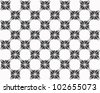 Four butterflies pasted at 45 degree angles, in a classic checkerboard pattern. Inverted black and gray butterflies, white background./ Butterfly Interlock Checker #1 / Classic looking style. - stock photo