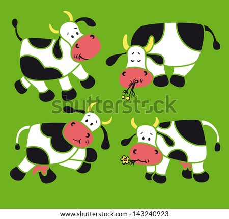 Four  cartoon cows
