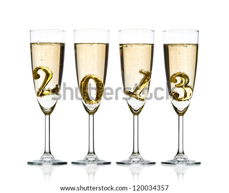 four glass goblet with champagne and  numeral 2013,  beautiful celebrations  New Year concept photo, on white background, isolated