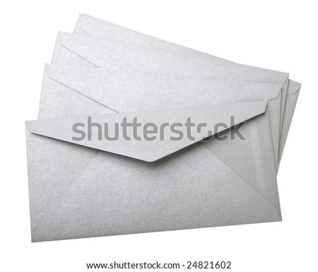 Four grey envelopes on white background