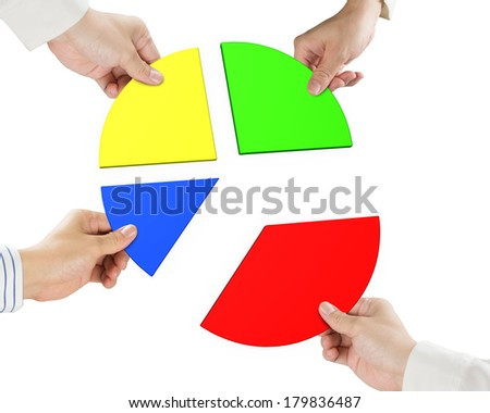 Four hands holding pie chart 3d isolated in white background