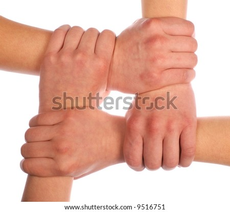 Four hands isolated on white background