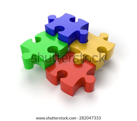 Four Jigsaw Puzzle Pieces on White Background with clipping path