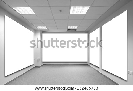 Four large blank billboard on modern wall with background. Empty copy space in the image is great for designer (interference in digital photo montage - collage)