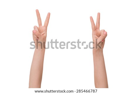 Four out of ten advantages exiting. Girl on white background with her hands up.
