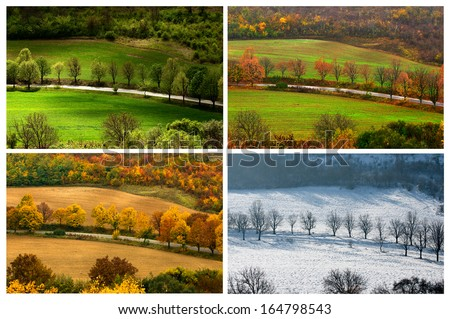 four seasons landscape with countryside views of Preslav.