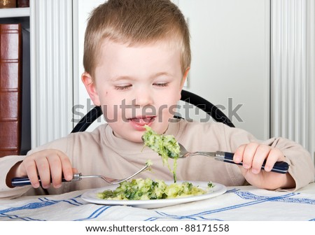 Four year old boy refusing to eat his vegetables