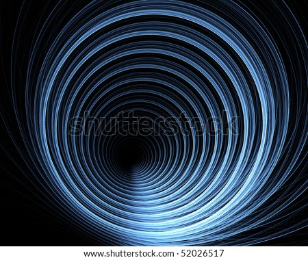 Fractal abstract design in the form of a geometric pattern looking down the inside of a pipe on a black background