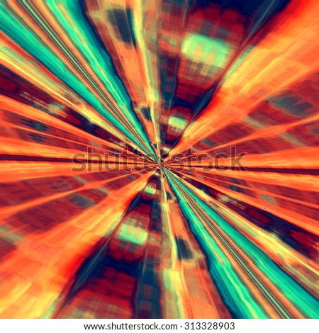 Fractal art illustration. Big bang ray lines. High speed. Deep beams. Ornate book cover. Power laser blast. Fast racing. Warp speed concept. Motion blur effect. Orange colour tone. Pink blue ornament.