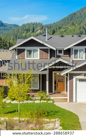 Large pink house exterior view entrance stock photo for Nice houses in canada