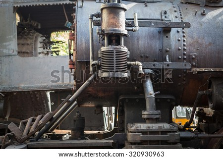 fragment of an old steam locomotive