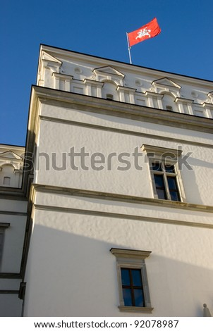 Fragment of restored Vilnius medieval royal palace with flag on top