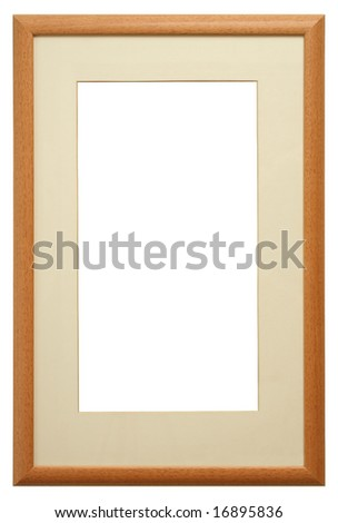 Frame. Rectangular cherry with Neutral Mat. Isolated with Clipping Path