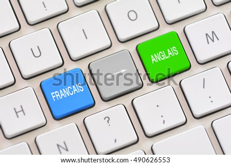 Francais or French translation choice in French writing on keyboard