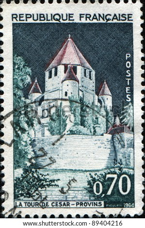 FRANCE - 1964: A stamp printed in France shows Caesar's Tower  located in Provins,  Seine-et-Marne , France, circa, 1964