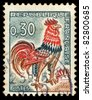 FRANCE - 1965: A stamp printed in France shows image of a chicken (Coq gaulois), circa, 1965 - stock photo