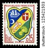 "FRANCE - CIRCA 1958: A stamp printed in France shows coat of arms of Algiers (capital and largest city of Algeria), with the same inscriptions, series ""Arms of French Towns"", circa 1958 - stock photo"