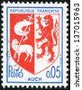 """FRANCE - CIRCA 1969: A stamp printed in France shows coat of arms of Auch (capital of Gascony) in France, with the same inscriptions, series """"Arms of French Towns"""", circa 1969 - stock photo"""