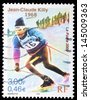 FRANCE - CIRCA 2000: A stamp printed in France shows Jean-Claude Killy, 1968, circa 2000 - stock photo