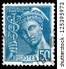 """FRANCE - CIRCA 1938: A stamp printed in France shows the ancient Greek god Mercury - patron god of financial gain, commerce, eloquence, without inscription, from the series """"Mercury"""", circa 1938 - stock photo"""