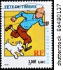 FRANCE - CIRCA 2000: A stamp printed in France shows the cartoon character, Tintin and his dog Snowy, circa 2000 - stock photo