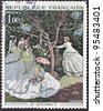 "FRANCE - CIRCA 1972: A stamp printed in France shows the work ""Women in Garden"" by Claude Monet, circa 1972 - stock photo"