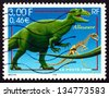 FRANCE - CIRCA 2000: a stamp printed in the France shows Allosaurus, Extinct Dinosaur, circa 2000 - stock photo