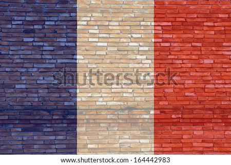 France flag on texture brick wall.
