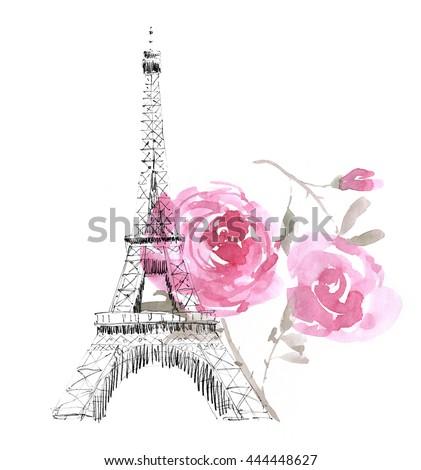 Eiffel Tower Pencil Sketch France Paris Urban Ske...