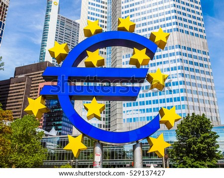 FRANKFURT AM MAIN, GERMANY - JUNE 03, 2013: The Europaeische Zentral Bank (European Central Bank) is the central bank for the Euro zone (HDR)
